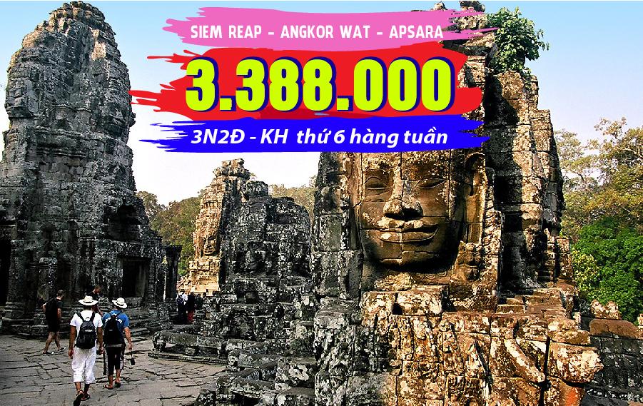 TK05. (3N2Đ) Du lịch Campuchia | Phnom Penh | Siem Reap | Angkor Wat | Apsara
