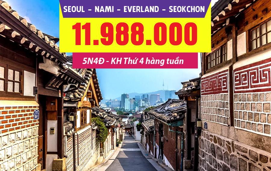 HQ08. (5N4Đ) Seoul | Nami | công viên Everland | Seokchon