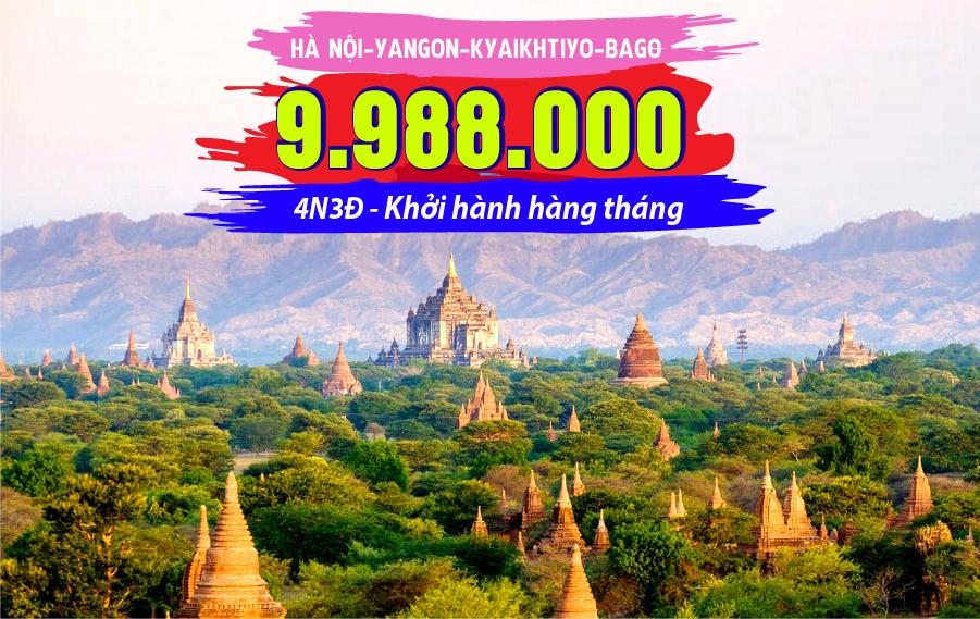 MA02. (4N3Đ) Du lịch Myanmar | Hà Nội | Yangon | Kyaikhtiyo | Bago